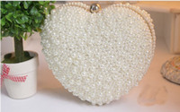 bags imitation - White Champagne Pearl Bridal Hand Bags For Wedding heart shape No Risking Wedding Accessories Pearls Floral Party Prom Evening Hand bags ZC