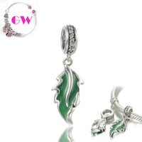 dangle charms - enamel charms charm pendant Green Leaf Dangle Nature silver charms fit charm bracelets No90 S179