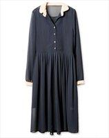 Wholesale icloud Luna fair maiden temperament Long sleeve skirt dress Blue black