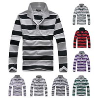 Wholesale Spring Autumn Men s Causal Long Sleeves Striped Polo T shirt Casual Regular Leisure Design Daily Turn Down Collar Polos Free