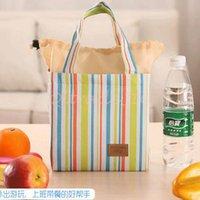 Wholesale 100pcs LJJC3154 High Quality Fashion Stripe Travel Lunch Bag Picnic Contain Cooler Insulated Thermal Waterproof Organizer Dinnerware Handbag