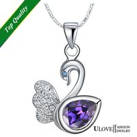 Cheap Swan Purple Necklaces Best Crystal Micro Necklaces