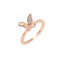 beautiful promise ring - Factory Supply Rose Gold Engagement Rings New Arrival Butterfly Shaped Unique Wedding Rings for Her Beautiful Promise Rings