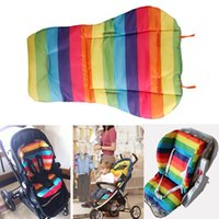 Wholesale New baby stroller Seat Cushion Cotton stripe baby car waterproof pad stroller accessories Pram Rainbow cotton thick mat