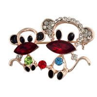 Wholesale Mascot Lucky Monkey Brooches Hat Accessories Scarf Shoulder Decoration Rhinestone Crystal Brooch Cute Animal Jewelry