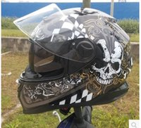 Wholesale 2015 new full face helmet ARAI run double lens helmet motorcycle helmet stunning color skull