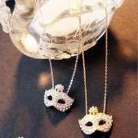 Wholesale Mask pendant necklace for women creative pendant golden silver color alloy rhinestone Korean classic short lavicle necklace