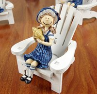 Wholesale Mediterranean style Mini wooden doll chair women and men type beach chair wood craft Home Furnishing decoration