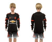 Wholesale 2016 New Arrival Chelsea blank second away long sleeve kids black Soccer Jersey Allow Mix Order