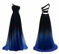 Wholesale 2016 Real Pictures Colorful Evening Dress Criss Cross Backless Stylish Prom Party Dress Gradient Colour Beaded One Shoulder Pageant Dresses