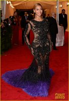 beyonce dresses - 2015 Met Gala Inspired See Through Celebrity Dresses Beyonce Mermaid Beaded Feathers Lace Long Sleeves Runway Evening Dresses with Crew Neck