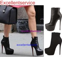high heel red sole - Victoria Beckham style women sexy red sole cm high heel mid calf boots ladies platform single OL boots big size
