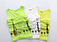 animal t shirts - The Latest Summer Children Modal Sleeveless H Vest Kids Fashion Boys Animal Letter Soft Comfortable Cute T Shirt White Yellow Green N0147