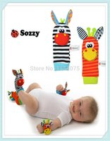 Wholesale free by EMS new Wrist rattle foot finder Baby toy Infant foot Sock wrist rattles foot socks order lt no track