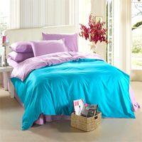 aqua bedspread - Aqua blue purple lilac bedding set King size queen quilt doona duvet cover western bed sheet double bedspread bedsheet linen cotton