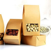 Wholesale Clear Display Packaging Gift Boxes - Brown Stand Up Kraft Paper Oragan Bags 8*5*15.5cm 50Pcs  Lot Doypack Dried Goods Candy Gift Pouch With Clear Window Package Box