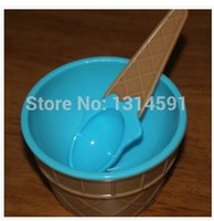Wholesale 6 set Cute plastic ice cream bowl spoon cups for children bebe bowls ice cream bowl tools colors cups and mugs bandeja