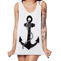 Wholesale Sexy Women Casual Anchor Pattern Summer Vest Shirt Tops Blouse Tank NVIE order lt no track