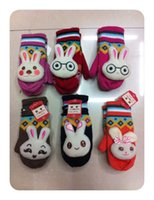 Wholesale 2014 Custom stylish Russian women winter gloves mittens with rabbit cartoon mix color packing