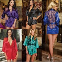 Wholesale Women Sexy Pyjamas Lady Bathrobe Satin Lace Lingerie Sleepwear Robes Pajamas Lingerie Plus Size Sexy Home Clothes Black Purple Red
