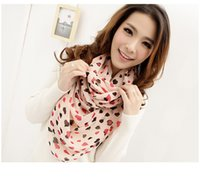 Wholesale New scarfs women chiffon two colors Peach pattern bandana Air conditioning Sunscreen super long shawl cm