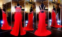 bib pictures - Sexy Jersey Prom Evening Dresses Red Formal Party Dress KR Sheath Bib Neckline Gold Beaded Pageant Gowns High Side Split Zipper Back