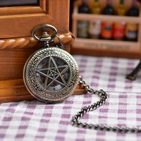 antique clocks - Chain Five Pointed Star Case Fashion Vine Antique Pocket Watch Mechanical Analog Display Pendant Watch Clock