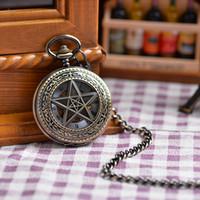 antique clock case - Chain Five Pointed Star Case Fashion Vine Antique Pocket Watch Mechanical Analog Display Pendant Watch Clock