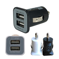 Wholesale Port Mini Universal Dual USB Car Charger Adapter Bullet V A A Black White PMHM109