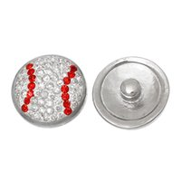 Mode Snap bouton Baseball ton argent Fit 20mm Fashion Bracelets Effacer strass rouge Dia, Bouton Taille: 5.5mm, 2 PC 2015 nouvelle