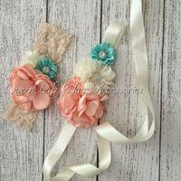 baby girl luxe - Retail Nude Mint Sash Matching Baby Headband Vintage Inspired Flower Sash Queenbaby Headband Luxe Sash