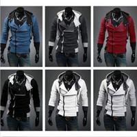 Men mens hoodie - NEW Mens Fashion Clothing Slim Fit Thick Jackets Fur Collar Anime Hoodie Coats Slant Zipper Metal Buckle M XL DH04