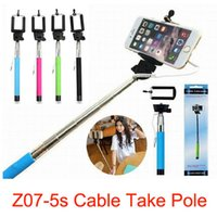 Cheap Z07-5s Cable Take Pole Extendable Selfie Stick + Cell Phone Clip Holder Remote Controller Handheld Wired Control Monopod For iPhone Samsung