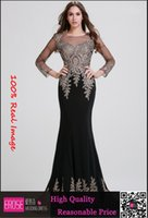 Model Pictures arabic evening gowns dresses - 2015 Luxury Real Images Sheer Neck Black Long Sleeve Formal Evening Prom Dresses Appliques Celebrity Pageant Party Gowns Arabic