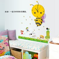 bee wall - Wall stickers home decoration MFS Bee watches posted classroom and practical children s room decorative wall clock cartoon fashion wall