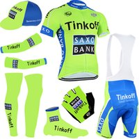 arm lycra shirts - Green Saxo cycling jersey and cycling bibs shorts gel pads with Arm Leg warmers Caps Half Finger cycling gloves