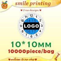 al por mayor etiquetas de diseño de impresión-Envío libre y diseño, etiquetas de papel frágiles, las etiquetas engomadas de la garantía, etiqueta del tiempo, impresión de la etiqueta, etiqueta 10 * 10MM de encargo