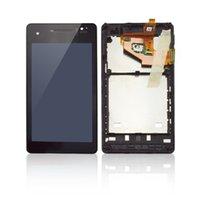 al por mayor xperia v lt25i lcd-Pantalla LCD y un digitalizador Asamblea con marco frontal Negro reemplazo de piezas de reparación para Sony Xperia V LT25i