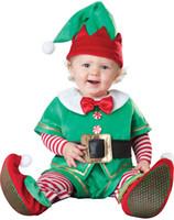 Wholesale Christmas baby clothing footies Snowman Santa elk elves kids One Pieces performance spring autumn winter halloween costume
