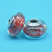 pandora charms - pandora Snow White s Signature Color Murano Glass beads charms silver beads jewelry loose beads thread bead Diy loose beads