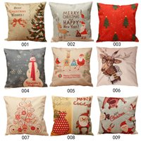 Wholesale Christmas Throw Home Decorative Cotton Linen Pillow case K5BO