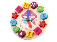 Wholesale Wooden toy Digital Geometry Clock Children s educational toy building blocks