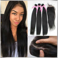 Cheap bundles with silk base closure Best brazilian hair bundles