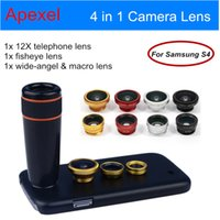 Cheap Wholesale-Apexel Camera Phone Lens Kit 12X Telephoto Lens Fisheye Wide Angle & Macro Fisheye Fish eye Lens with Back Case for Samsung S4