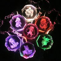 free shipping anime - Oriental Projec Cartoon Anime Action Figure LED Crystal Keychain With Colorful Night Light Key Chain Ring Gift Box Packing