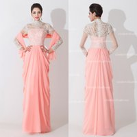 Mothers' Suit-dress autumn royal grapes - 2015 High Neck Sheer Long Sleeves Chiffon Pink Plus Size Mother Of The Bride Dresses With Wraps Lace Evening GOwns Prom Dress BZP0467
