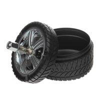 Wholesale New Black Creative Round Tire Design Style Fashion Push Press Rotation Ashtray Home Decor Accessories Kit
