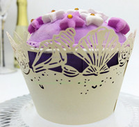 Wholesale 32 Colors Pearl Paper PE Glossy Cupcake Wrappers Hollow Out Starfish Seashell Puff Cups Laser Cut Kids Birthday Party Sea World Theme WE110