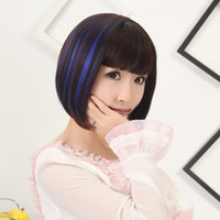 Wholesale Hot Anime Wigs BobHaircut bangs short hair High Temperature Silk Wig Human Hair Lovely students hairstyle drop shipping