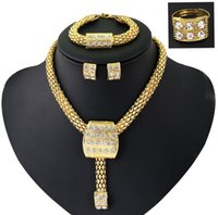 beads for africa - Africa Jewelry Sets K Gold Chunky Chain Statement Beads Bib Collar Necklace Earrings Ring Bracelet Jewelry Set With Crystal For Women